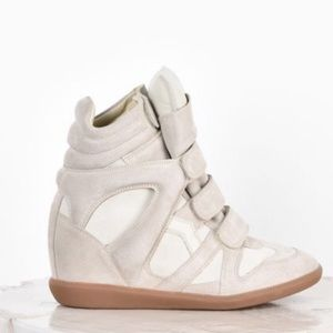 Isabel Marant Cream Wedge Sneakers Size 38/8